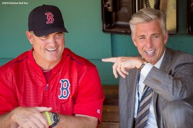 BOSTON, MA - JUNE 22: Boston Red Sox Manager John Farrell and President of Baseball Operations David Dombrowski talk before a game against the Chicago White Sox on June 22, 2016 at Fenway Park in Boston, Massachusetts. (Photo by Billie Weiss/Boston Red Sox/Getty Images) *** Local Caption *** John Farrell; David Dombrowski
