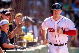 BOSTON, MA - JULY 3: Brock Holt #12 of the Boston Red Sox reacts after scoring during the fifth inning of a game against the Los Angeles Angels of Anaheim on July 3, 2016 at Fenway Park in Boston, Massachusetts. (Photo by Billie Weiss/Boston Red Sox/Getty Images) *** Local Caption *** Brock Holt
