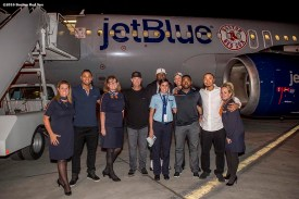 July 10, 2016, San Diego, CA: 2016 Boston Red Sox Major League Baseball All-Stars shortstop Xander Bogaerts, pitcher Steven Wright, designated hitter David Ortiz, center fielder Jackie Bradley Jr., and right fielder Mookie Betts pose with a group photograph with the jetBlue flight crew after landing in San Diego, California Sunday, July 10, 2016 during a team charter flight to the 2016 Major League Baseball All-Star Game. (Photos by Billie Weiss/Boston Red Sox)