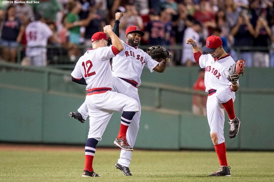 BOSTON, MA - JULY 20: Brock Holt #12, Jackie Bradley Jr. #25, and Mookie Betts #50 f the Boston Red Sox celebrate a victory against the San Francisco Giants on July 20, 2016 at Fenway Park in Boston, Massachusetts. (Photo by Billie Weiss/Boston Red Sox/Getty Images) *** Local Caption *** Brock Holt; Jackie Bradley Jr.; Mookie Betts