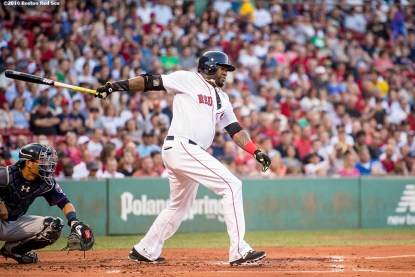 BOSTON, MA - JULY 21: David Ortiz #34 of the Boston Red Sox hits an RBI single during the first inning of a game against the Minnesota Twins on July 21, 2016 at Fenway Park in Boston, Massachusetts. (Photo by Billie Weiss/Boston Red Sox/Getty Images) *** Local Caption *** David Ortiz