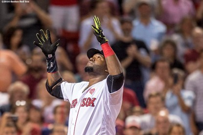 BOSTON, MA - JULY 21: David Ortiz #34 of the Boston Red Sox reacts after hitting a two run home run during the eighth inning of a game against the Minnesota Twins on July 21, 2016 at Fenway Park in Boston, Massachusetts. (Photo by Billie Weiss/Boston Red Sox/Getty Images) *** Local Caption *** David Ortiz