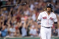 BOSTON, MA - JULY 23: Hanley Ramirez #13 of the Boston Red Sox tosses his bat after hitting a three run home run during the second inning of a game against the Minnesota Twins on July 23, 2016 at Fenway Park in Boston, Massachusetts. (Photo by Billie Weiss/Boston Red Sox/Getty Images) *** Local Caption *** Hanley Ramirez