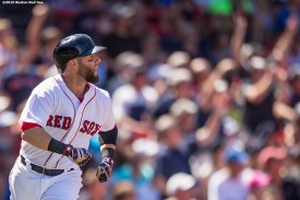 BOSTON, MA - JULY 24: Dustin Pedroia #15 of the Boston Red Sox hits a home run during the fifth inning of a game against the Minnesota Twins on July 24, 2016 at Fenway Park in Boston, Massachusetts. (Photo by Billie Weiss/Boston Red Sox/Getty Images) *** Local Caption *** Dustin Pedroia
