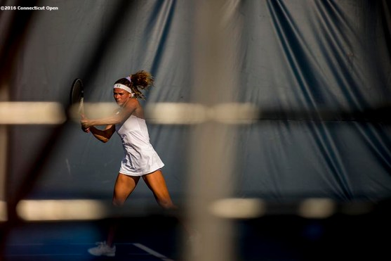 August 20, 2016, New Haven, Connecticut: Camila Giorgi of Italy in action during a qualifying match on Day 2 of the 2016 Connecticut Open at the Yale University Tennis Center on Saturday, August 20, 2016 in New Haven, Connecticut. (Photo by Billie Weiss/Connecticut Open)