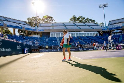 August 22, 2016, New Haven, Connecticut: Jelena Ostapenko of Latvia walks off the court after defeating Caroline Wozniacki of Denmark during a match a match on Day 4 of the 2016 Connecticut Open at the Yale University Tennis Center on Monday August 22, 2016 in New Haven, Connecticut. (Photo by Billie Weiss/Connecticut Open)