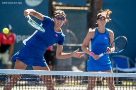 August 23, 2016, New Haven, Connecticut: Nicole Melichar and Maria Sanchez of the United States in action during a match on Day 5 of the 2016 Connecticut Open at the Yale University Tennis Center on Tuesday, August 23, 2016 in New Haven, Connecticut. (Photo by Billie Weiss/Connecticut Open)