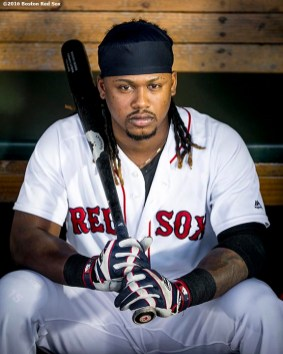 BOSTON, MA - SEPTEMBER 12: Hanley Ramirez #13 of the Boston Red Sox looks on before a game against the Baltimore Orioles on September 12, 2016 at Fenway Park in Boston, Massachusetts. (Photo by Billie Weiss/Boston Red Sox/Getty Images) *** Local Caption *** Hanley Ramirez