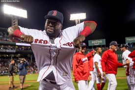 BOSTON, MA - SEPTEMBER 15: David Ortiz #34 of the Boston Red Sox reacts after Hanley Ramirez #13 of the Boston Red Sox hit a walk off three run home run during the ninth inning of a game against the New York Yankees on September 15, 2016 at Fenway Park in Boston, Massachusetts. (Photo by Billie Weiss/Boston Red Sox/Getty Images) *** Local Caption *** Hanley Ramirez; David Ortiz