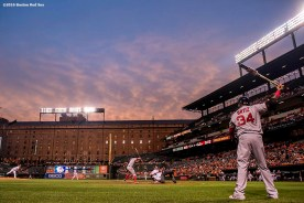 BALTIMORE, MD - SEPTEMBER 19: David Ortiz #34 of the Boston Red Sox warms up on deck during the first inning of a game against the Baltimore Orioles on September 19, 2016 at Oriole Park at Camden Yards in Baltimore, Maryland. (Photo by Billie Weiss/Boston Red Sox/Getty Images) *** Local Caption *** David Ortiz