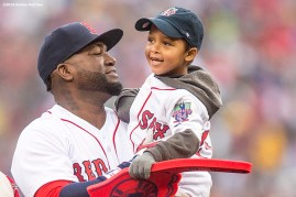 BOSTON, MA - OCTOBER 2: David Ortiz #34 of the Boston Red Sox greets Josmaily Cruz, a beneficiary of the David Ortiz Children's Fund, during an honorary retirement ceremony in his final regular season game at Fenway Park against the Toronto Blue Jays on October 2, 2016 at Fenway Park in Boston, Massachusetts. (Photo by Billie Weiss/Boston Red Sox/Getty Images) *** Local Caption *** David Ortiz; Josmaily Cruz