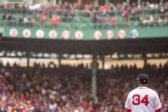 BOSTON, MA - OCTOBER 2: David Ortiz #34 of the Boston Red Sox is looks on as it is announced that his number will be retired by the Boston Red Sox during an honorary retirement ceremony in his final regular season game at Fenway Park against the Toronto Blue Jays on October 2, 2016 at Fenway Park in Boston, Massachusetts. (Photo by Billie Weiss/Boston Red Sox/Getty Images) *** Local Caption *** David Ortiz