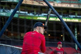 BOSTON, MA - OCTOBER 4: Brock Holt #12 of the Boston Red Sox takes batting practice during a workout before game one of the American League Division Series against the Cleveland Indians on October 4, 2016 at Fenway Park in Boston, Massachusetts. (Photo by Billie Weiss/Boston Red Sox/Getty Images) *** Local Caption *** Brock Holt