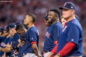 CLEVELAND, OH - OCTOBER 6: David Ortiz #34 of the Boston Red Sox reacts before game one of the American League Division Series against the Cleveland Indians on October 6, 2016 at Progressive Field in Cleveland, Ohio. (Photo by Billie Weiss/Boston Red Sox/Getty Images) *** Local Caption *** David Ortiz