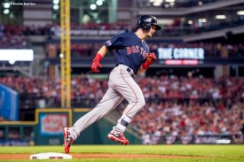 CLEVELAND, OH - OCTOBER 6: Andrew Benintendi #40 of the Boston Red Sox rounds third base after hitting a solo home run during the third inning of game one of the American League Division Series against the Cleveland Indians on October 6, 2016 at Progressive Field in Cleveland, Ohio. (Photo by Billie Weiss/Boston Red Sox/Getty Images) *** Local Caption *** Andrew Benintendi