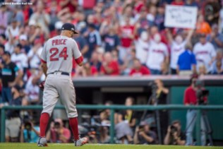 CLEVELAND, OH - OCTOBER 7: David Price #24 of the Boston Red Sox exits the game during the fourth inning of game two of the American League Division Series against the Cleveland Indians on October 7, 2016 at Progressive Field in Cleveland, Ohio. (Photo by Billie Weiss/Boston Red Sox/Getty Images) *** Local Caption *** David Price