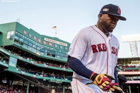 BOSTON, MA - OCTOBER 10: David Ortiz #34 of the Boston Red Sox runs onto the field before game three of the American League Division Series against the Cleveland Indians on October 10, 2016 at Fenway Park in Boston, Massachusetts. (Photo by Billie Weiss/Boston Red Sox/Getty Images) *** Local Caption *** David Ortiz
