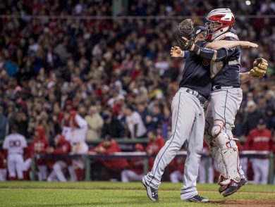 BOSTON, MA - OCTOBER 10: Cody Allen #37 of the Cleveland Indians celebrates with Roberto Perez #55 after defeating the Boston Red Sox to win the American League Division Series against the Cleveland Indians on October 10, 2016 at Fenway Park in Boston, Massachusetts. (Photo by Billie Weiss/Boston Red Sox/Getty Images) *** Local Caption *** Cody Allen; Roberto Perez