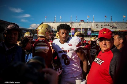 CHESTNUT HILL, MA - NOVEMBER 05: Lamar Jackson #8 of Louisville reacts following a game against Boston College at Alumni Stadium on November 5, 2016 in Chestnut Hill, Massachusetts. (Photo by Billie Weiss/Getty Images) *** Local Caption *** Lamar Jackson