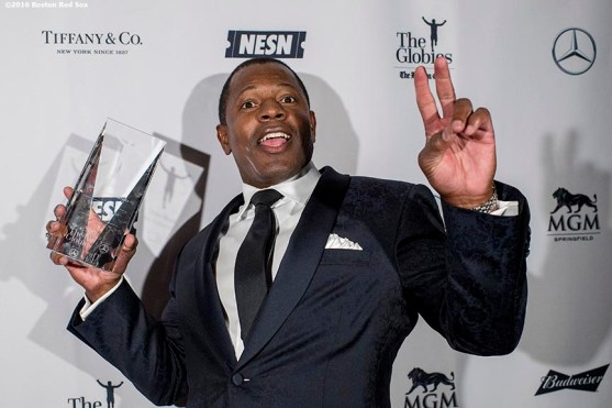 November 14, 2016, Boston, MA: Former New England Patriots player Troy Brown poses for a photograph with the award backstage on behalf of quarterback Tom Brady during The Globies Awards at House of Blues in Boston, Massachusetts Monday, November 14, 2016. (Photo by Billie Weiss/Boston Red Sox)