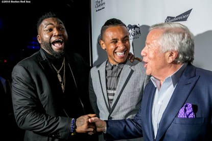 November 14, 2016, Boston, MA: Former Boston Red Sox designated hitter David Ortiz talks with New England Patriots owner Robert Kraft alongside New England Revolution player Juan Agudelo backstage during The Globies Awards at House of Blues in Boston, Massachusetts Monday, November 14, 2016. (Photo by Billie Weiss/Boston Red Sox)