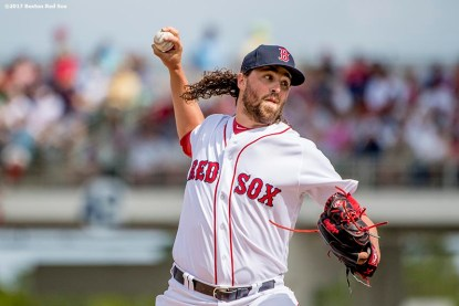 FT. MYERS, FL - MARCH 5: Heath Hembree #37 of the Boston Red Sox delivers during the fourth inning of a Spring Training game against the Atlanta Braves on March 5, 2017 at Fenway South in Fort Myers, Florida . (Photo by Billie Weiss/Boston Red Sox/Getty Images) *** Local Caption *** Heath Hembree