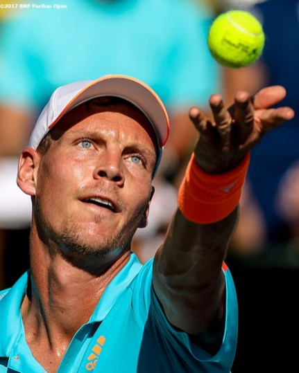 Tomas Berdych in action against Yoshihito Nishioka during the 2017 BNP Paribas Open at the Indian Wells Tennis Garden in Indian Wells, California on Monday, March 13, 2017. (Photo by Billie Weiss/BNP Paribas Open)