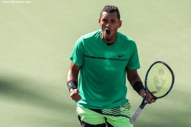 Nick Kyrgios reacts during a match against Novak Djokovic at the Indian Wells Tennis Garden in Indian Wells, California on Saturday, March 11, 2017. (Photo by Billie Weiss/BNP Paribas Open)
