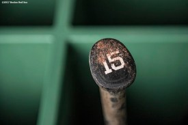 BOSTON, MA - APRIL 5: The bat of Dustin Pedroia #15 of the Boston Red Sox is shown before a game against the Pittsburgh Pirates on April 5, 2017 at Fenway Park in Boston, Massachusetts. (Photo by Billie Weiss/Boston Red Sox/Getty Images) *** Local Caption ***Dustin Pedroia