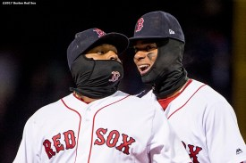 BOSTON, MA - APRIL 5: Pablo Sandoval #48 and Xander Bogaerts #2 of the Boston Red Sox react during the tenth inning of a game against the Pittsburgh Pirates on April 5, 2017 at Fenway Park in Boston, Massachusetts. (Photo by Billie Weiss/Boston Red Sox/Getty Images) *** Local Caption *** Pablo Sandoval; Xander Bogaerts