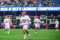 FOXBORO, MA - MAY 29: Nick Manis #20 of the Maryland Terrapins handles the ball during the Division I Men's Lacrosse Championship against the Ohio State Buckeyes at Gillette Stadium on May 29, 2017 in Foxboro, Massachusetts. (Photo by Billie Weiss/Getty Images) *** Local Caption *** Nick Manis