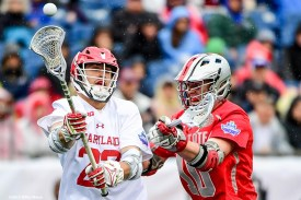 FOXBORO, MA - MAY 29: Wesley Janeck #22 of the Maryland Terrapins passes the ball as he is defended by John Kelly #10 of the Ohio State Buckeyes during the Division I Men's Lacrosse Championship at Gillette Stadium on May 29, 2017 in Foxboro, Massachusetts. (Photo by Billie Weiss/Getty Images) *** Local Caption *** John Kelly; Wesley Janeck