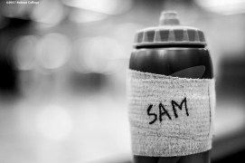 November 30, 2016, Newton, MA: The water bottle of Sam Bohmiller is shown before a game against Bates University at Webster Sports Arena at Babson College in Newton, Massachusetts Wednesday, November 30, 2016. (Photo by Billie Weiss/Babson College Magazine)