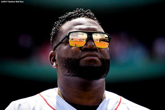 BOSTON, MA - JULY 30: Former Boston Red Sox player David Ortiz looks on during a 2007 World Series Champion team reunion before a game against the Kansas City Royals on July 30, 2017 at Fenway Park in Boston, Massachusetts. (Photo by Billie Weiss/Boston Red Sox/Getty Images) *** Local Caption *** David Ortiz