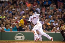 BOSTON, MA - AUGUST 1: Eduardo Nunez #36 of the Boston Red Sox hits an RBI double during the sixth inning of a game against the Cleveland Indians on August 1, 2017 at Fenway Park in Boston, Massachusetts. (Photo by Billie Weiss/Boston Red Sox/Getty Images) *** Local Caption *** Eduardo Nunez