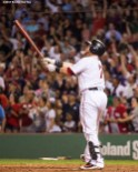 BOSTON, MA - AUGUST 1: Christian Vazquez #7 of the Boston Red Sox hits a walk-off three run home run during the ninth inning of a game against the Cleveland Indians on August 1, 2017 at Fenway Park in Boston, Massachusetts. (Photo by Billie Weiss/Boston Red Sox/Getty Images) *** Local Caption *** Christian Vazquez