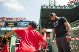 August 3, 2017, Boston, MA: Boston Red Sox pitcher Fernando Abad gives pitching instructions to a participant during a Sox Talk Clinic at Fenway Park in Boston, Massachusetts Thursday, August 3, 2017. (Photo by Billie Weiss/Boston Red Sox)