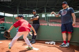 August 3, 2017, Boston, MA: Boston Red Sox pitchers Robbie Ross Jr. and Fernando Abad give pitching instructions to a participant during a Sox Talk Clinic at Fenway Park in Boston, Massachusetts Thursday, August 3, 2017. (Photo by Billie Weiss/Boston Red Sox)