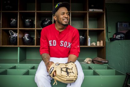 BOSTON, MA - AUGUST 5: Fernando Abad #58 of the Boston Red Sox looks on before a game against the Chicago White Sox on August 5, 2017 at Fenway Park in Boston, Massachusetts. (Photo by Billie Weiss/Boston Red Sox/Getty Images) *** Local Caption *** Fernando Abad