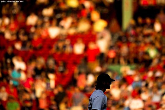 BOSTON, MA - AUGUST 16: Andrew Benintendi #16 of the Boston Red Sox warms up before a game against the St. Louis Cardinals on August 16, 2017 at Fenway Park in Boston, Massachusetts. (Photo by Billie Weiss/Boston Red Sox/Getty Images) *** Local Caption *** Andrew Benintendi