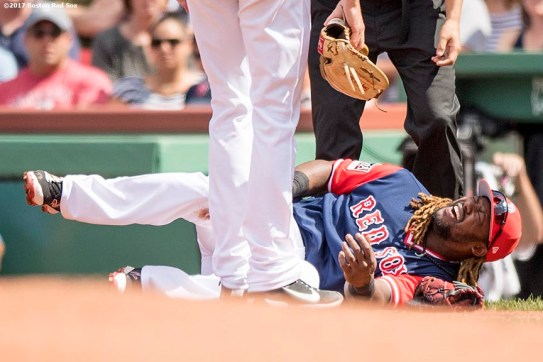 BOSTON, MA - AUGUST 27: Hanley Ramirez #13 of the Boston Red Sox reacts as he is injured during the fourth inning of a game against the Baltimore Orioles on August 27, 2017 at Fenway Park in Boston, Massachusetts. (Photo by Billie Weiss/Boston Red Sox/Getty Images) *** Local Caption *** Hanley Ramirez
