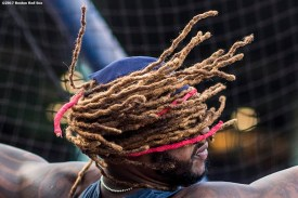 BOSTON, MA - SEPTEMBER 27: Hanley Ramirez #13 of the Boston Red Sox takes batting practice before a game against the Toronto Blue Jays on September 27, 2017 at Fenway Park in Boston, Massachusetts. (Photo by Billie Weiss/Boston Red Sox/Getty Images) *** Local Caption *** Hanley Ramirez