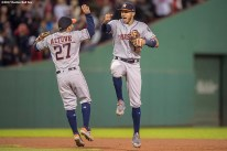 BOSTON, MA - SEPTEMBER 29: Jose Altuve #27 and Carlos Correa #1of the Houston Astros celebrate a victory against the Boston Red Sox on September 29, 2017 at Fenway Park in Boston, Massachusetts. (Photo by Billie Weiss/Boston Red Sox/Getty Images) *** Local Caption *** Jose Altuve; Carlos Correa