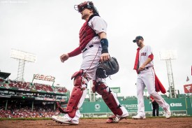BOSTON, MA - OCTOBER 9: Christian Vazquez #7 and Rick Porcello #22 of the Boston Red Sox walk toward the dugout before game four of the American League Division Series against the Houston Astros on October 9, 2017 at Fenway Park in Boston, Massachusetts. (Photo by Billie Weiss/Boston Red Sox/Getty Images) *** Local Caption *** Rick Porcello; Christian Vazquez