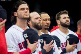 BOSTON, MA - OCTOBER 9: Dustin Pedroia #15 of the Boston Red Sox looks on before game four of the American League Division Series against the Houston Astros on October 9, 2017 at Fenway Park in Boston, Massachusetts. (Photo by Billie Weiss/Boston Red Sox/Getty Images) *** Local Caption *** Dustin Pedroia