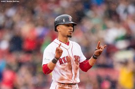 BOSTON, MA - OCTOBER 9: Mookie Betts #50 of the Boston Red Sox reacts after stealing second base during the first inning of game four of the American League Division Series against the Houston Astros on October 9, 2017 at Fenway Park in Boston, Massachusetts. (Photo by Billie Weiss/Boston Red Sox/Getty Images) *** Local Caption *** Mookie Betts