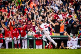 BOSTON, MA - OCTOBER 9: Andrew Benintendi #16 of the Boston Red Sox rounds the bases after hitting a go-ahead two run home run during the fifth inning of game four of the American League Division Series against the Houston Astros on October 9, 2017 at Fenway Park in Boston, Massachusetts. (Photo by Billie Weiss/Boston Red Sox/Getty Images) *** Local Caption *** Andrew Benintendi