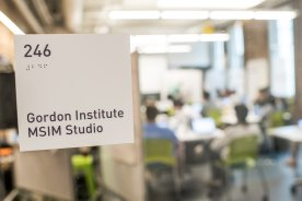 """""""Class is held in the MSIM Studio at Tufts Gordon Institute at Tufts University in Medford, Massachusetts."""""""