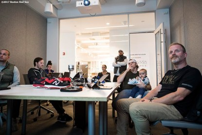 November 9, 2017, Boston, MA: Boston Red Sox infielder Brock Holt participates in a custom cleat design meeting with his son Griff during a visit to the New Balance Headquarters in Boston, Massachusetts Wednesday, November 9, 2017. (Photo by Billie Weiss/Boston Red Sox)