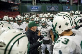 November 10, 2017, Boston, MA: Members of Dartmouth College huddle before a game against Brown University during the Fenway Gridiron Series presented by Your Call Football at Fenway Park in Boston, Massachusetts Friday, November 10, 2017. (Photo by Billie Weiss/Boston Red Sox)